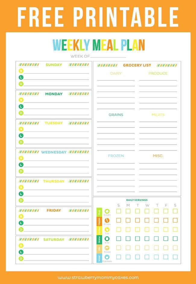 Daily Meal Plan Template Free Printable Weekly Meal Planner Printable Crush