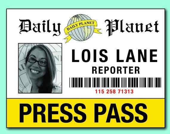 Daily Planet Press Badge Template Daily Planet Press Pass Template Unique Items Similar to
