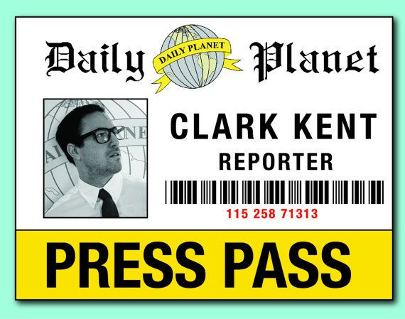 Daily Planet Press Badge Template Lois & Clark Press Pass Badge for Costume Add Your Picture