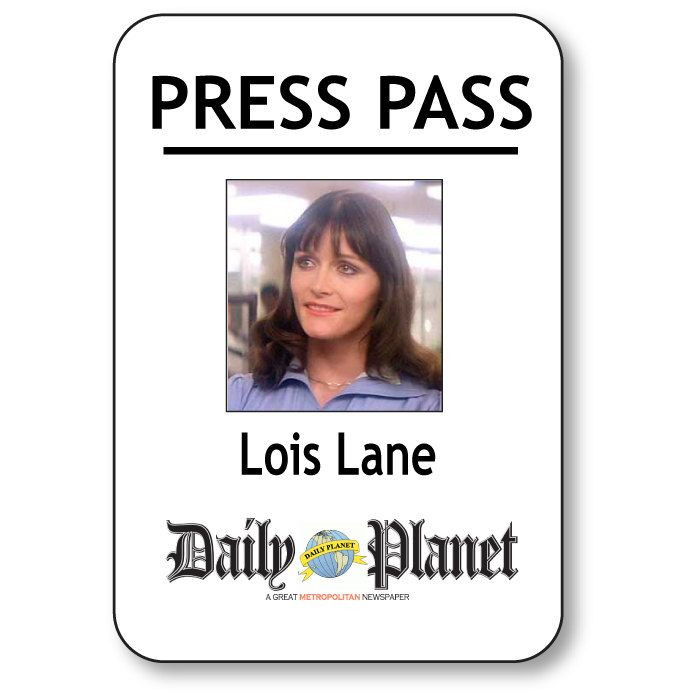 Daily Planet Press Badge Template Lois Lane Superman Daily Planet Press Pass Pin Fastener Name