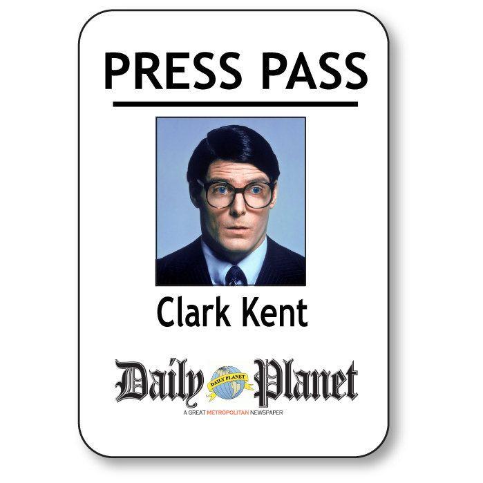Daily Planet Press Pass Template Clark Kent Superman Daily Planet Press Pass Magnetic