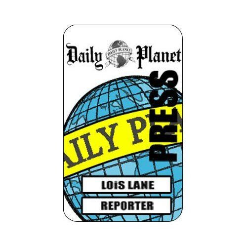 Daily Planet Press Pass Template Lois Lane Cosplay Daily Planet Press Reporter Id Card