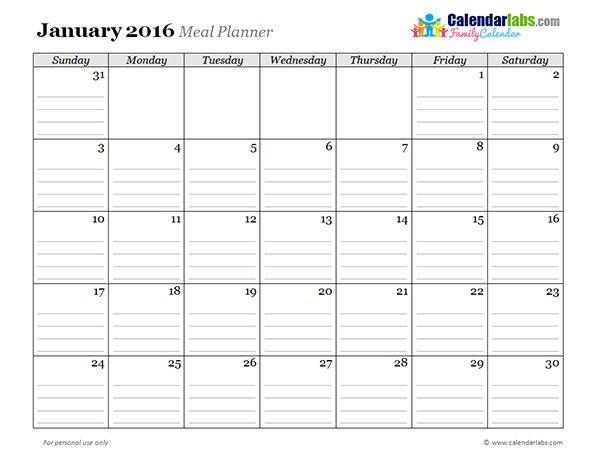 Daily Planner 2016 Template Daily Planner 2016 Template Elegant 2016 Monthly Menu