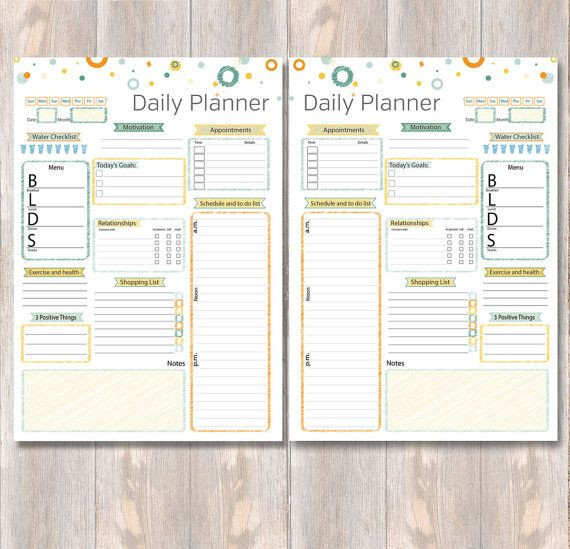 Daily Planner 2016 Template Daily Planner Printable Day Planner Schedule to Do List