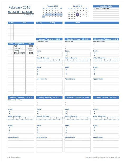 Daily Planner Excel Template 2015 A Printable Personal Planner Template for Excel with