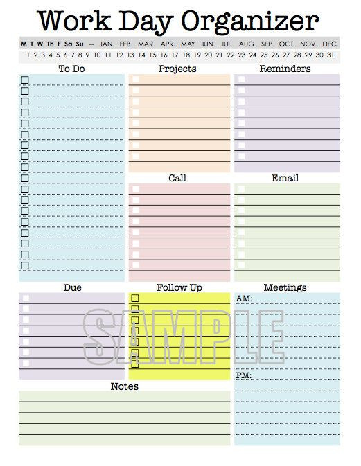 Daily Planner Excel Template 2015 Work Day organizer Planner Page Work Planner Printable