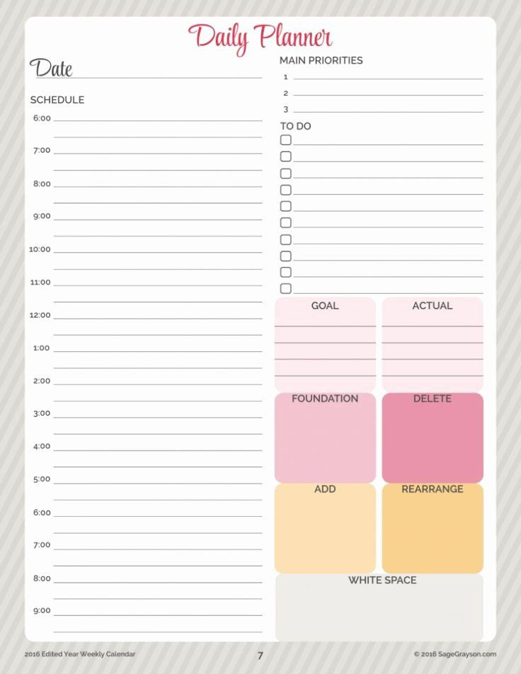 Daily Planner Printable Template Daily Planner Template Printable Awesome Free Printable