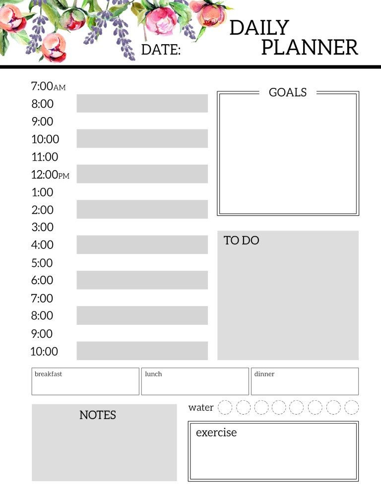 Daily Planner Printable Template Floral Free Printable Daily Planner Template Sheets