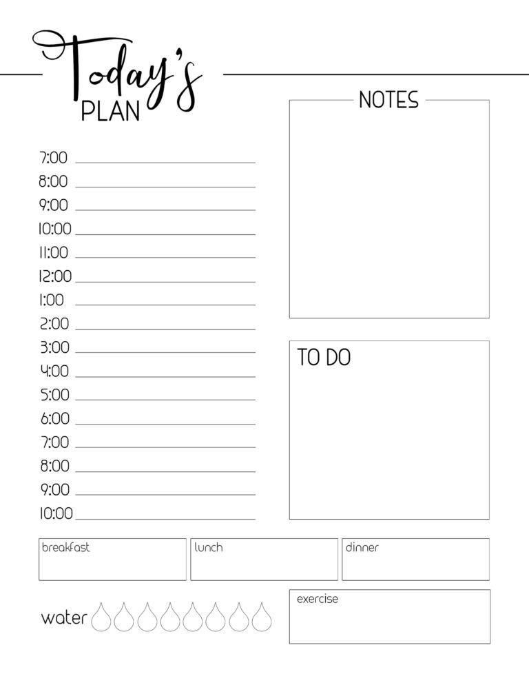 Daily Planner Printable Template Free Printable Daily Planner Template