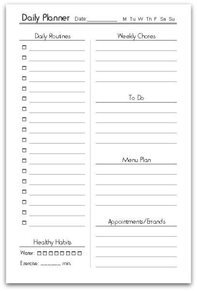 Daily Planner Printable Template Free Printable Half Size Planner