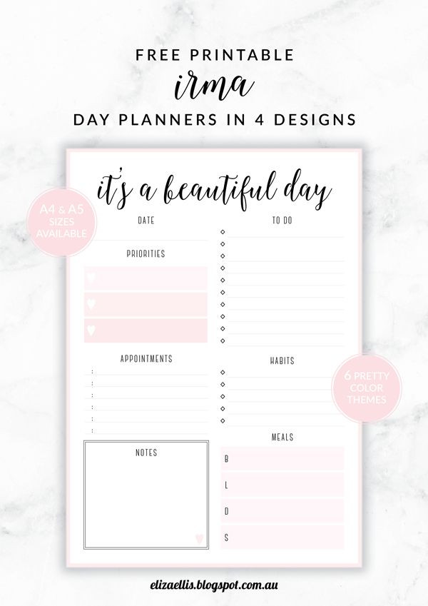 Daily Planner Printable Template Free Printable Irma Daily Planners