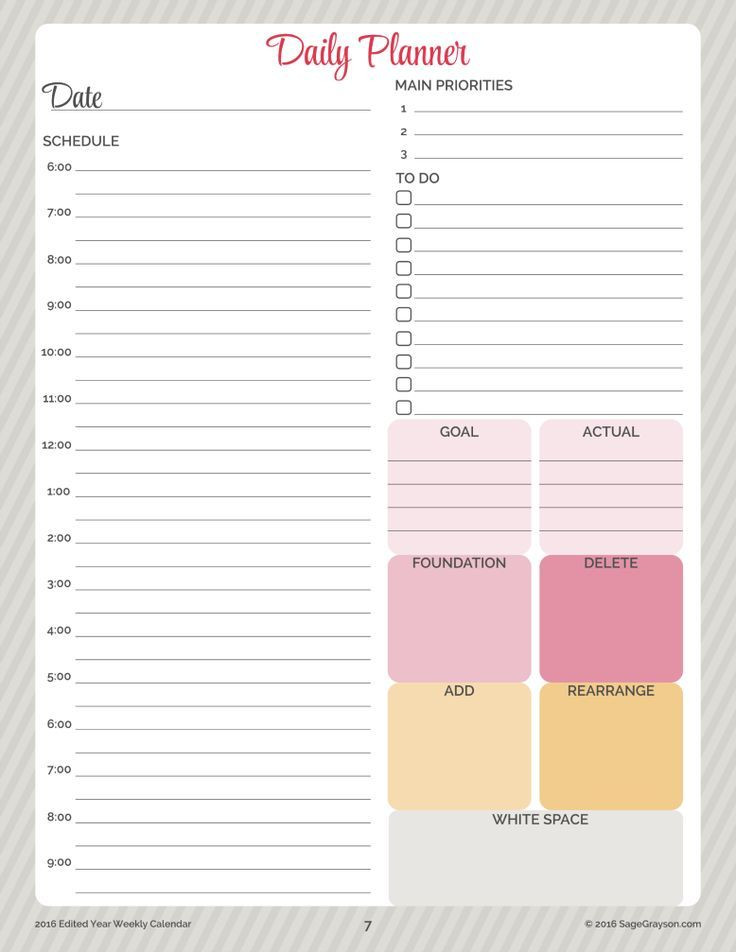 Daily Planner Template 2016 Free Printable Worksheet Daily Planner for 2016 Sage