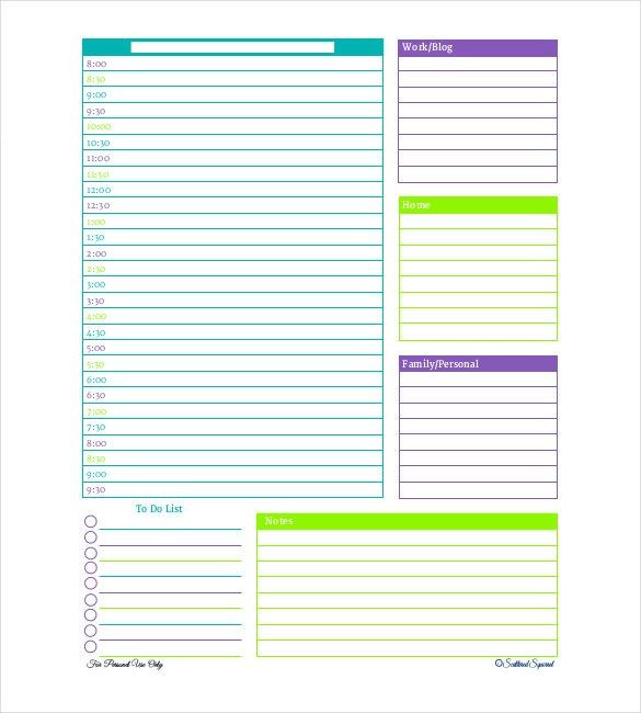 Daily Schedule Planner Template 21 Sample Free Daily Schedule Templates & Daily Planners