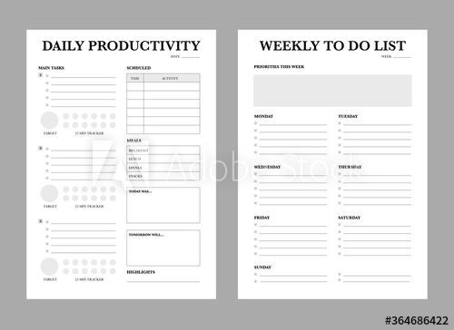 Daily Weekly Monthly Planner Template 3 Set Of Minimalist Planners Daily Weekly Monthly Planner
