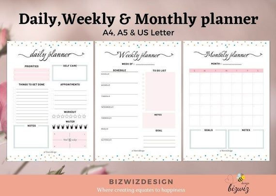 Daily Weekly Monthly Planner Template Daily Planner Weekly Planner Monthly Planner Printable
