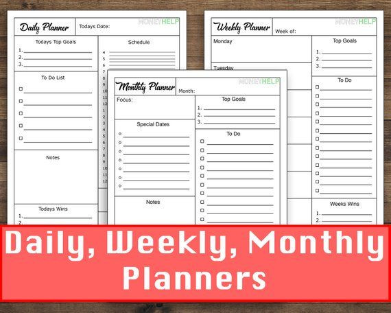 Daily Weekly Monthly Planner Template Daily Weekly Monthly Planner Template Printout This