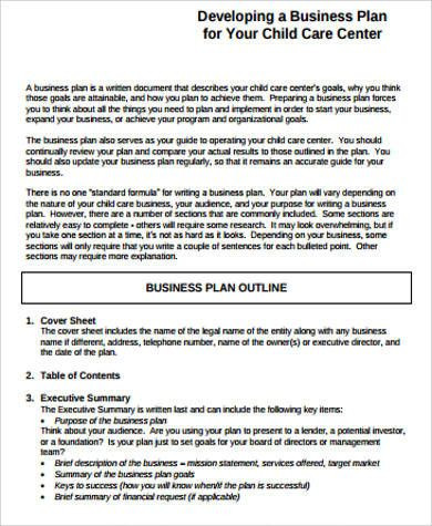 Daycare Business Plan Template Child Care Business Plan Template Elegant Sample Daycare