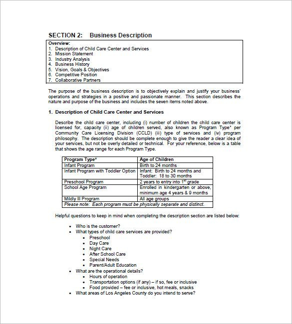 Daycare Business Plan Template Free Word Excel Pdf format Download