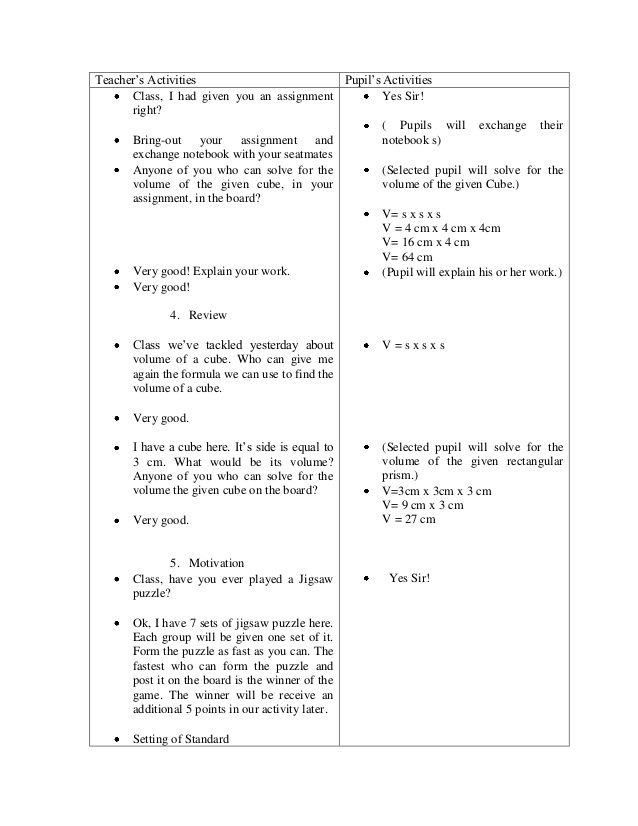 Demo Lesson Plan Template A Detailed Lesson Plan Final Copy Final Demo