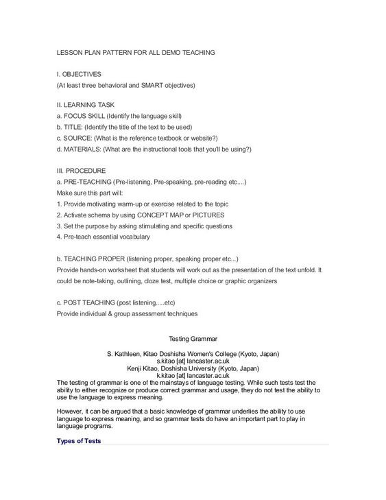 Demo Lesson Plan Template Demo Lesson Plan Template New Lesson Plan Pattern for All