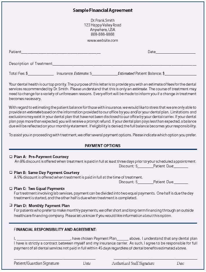 Dental Payment Plan Agreement Template Dental Payment Plan Agreement Template Unique Agreement
