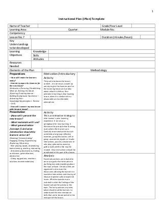 Differentiated Lesson Plan Template Deped K to 12 Lesson Plan Template