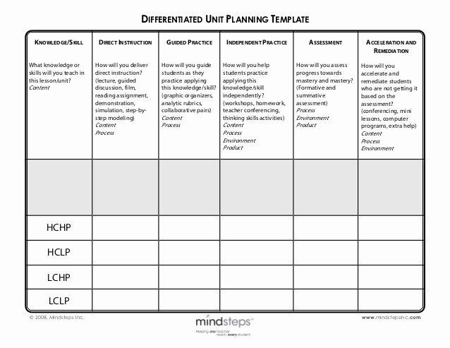 Differentiated Lesson Plan Template Differentiated Instruction Lesson Plan Template Unique