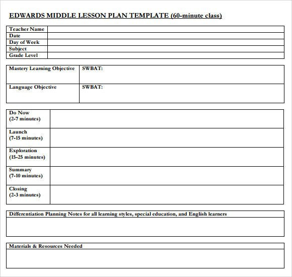 Differentiated Lesson Plan Template Lesson Plan Template Middle School Unique Sample Middle