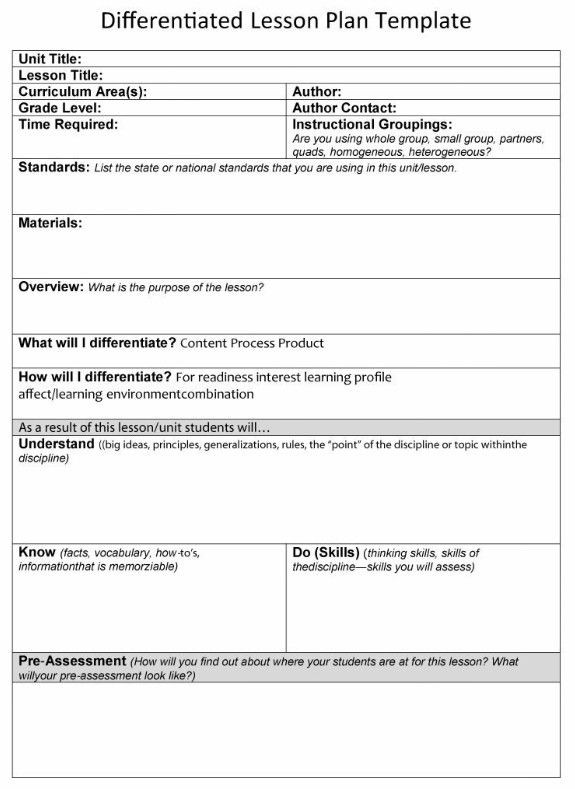 Differentiated Lesson Plan Template Pin by Kittenette On Future Home Schooling