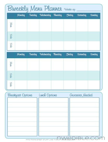Dinner Planner Template Biweekly Menu Planning form Free Downloadable