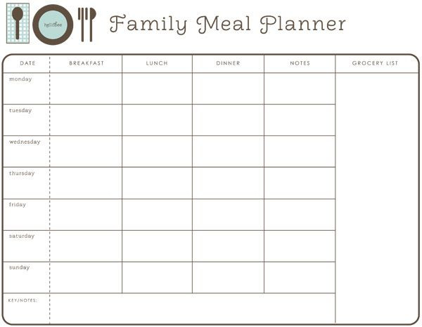 Dinner Planner Template Printable Meal Planner Hellobee