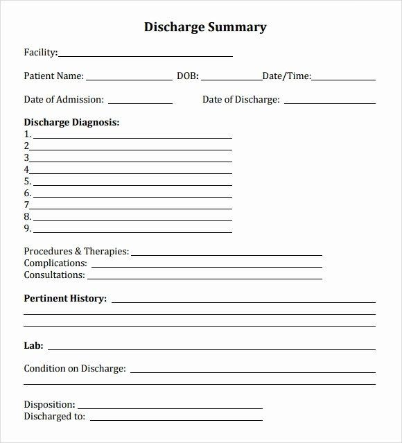 Discharge Planning Checklist Template Emergency Room form Template Inspirational Discharge Summary