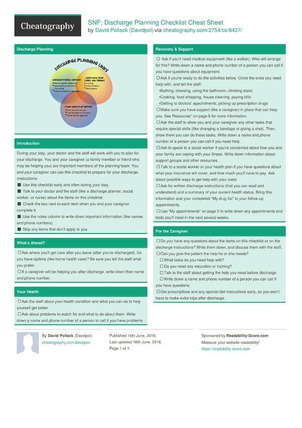 Discharge Planning Checklist Template Snf Discharge Planning Checklist Cheat Sheet From Davidpol