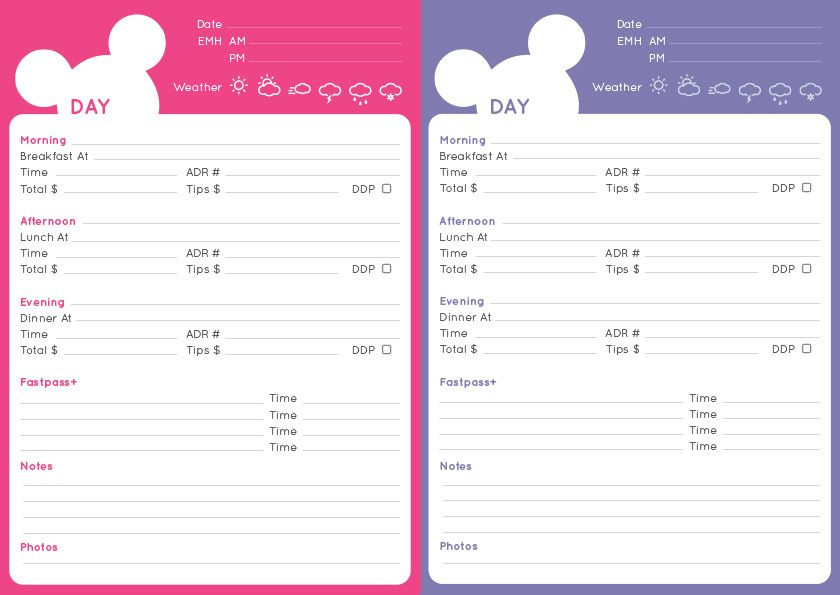 Disney Vacation Planner Template Disney Itinerary and Checklist Pdf – Fred and Nicola