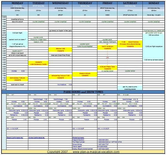 Disney Vacation Planner Template Disney Spreadsheet Sample 556—521 Pixels