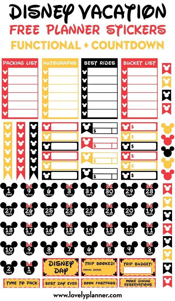 Disney Vacation Planner Template Free Printable Disney Vacation Planner Stickers Countdown