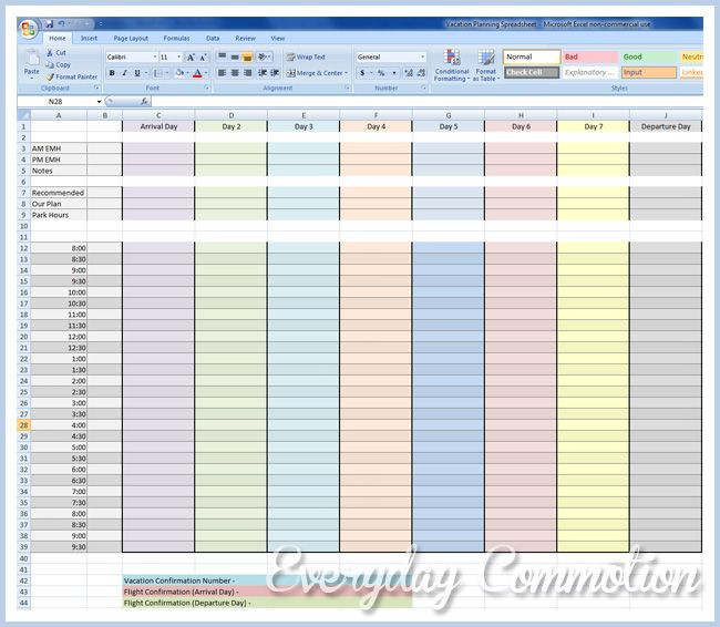 Disney Vacation Planner Template Free Vacation Planning Spreadsheet to Download My Disney