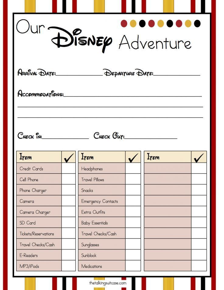 Disney Vacation Planner Template Get Ready for Your Disney Vacation Free Printable Disney