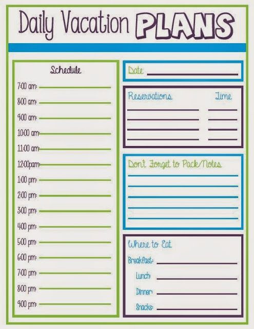 Disney Vacation Planner Template Mommy Quickies Daily Vacation Schedule