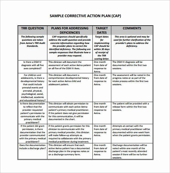 Dsm 5 Treatment Plan Template Free Corrective Action Plan Template Best Corrective