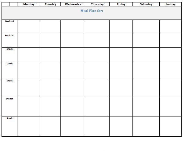 Eat Clean Meal Plan Template Blank Meal Plan for 21 Day Fix