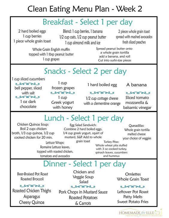 Eat Clean Meal Plan Template Clean Eating Meal Plan Week 2 Homemade for Elle