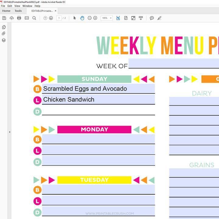Editable Weekly Meal Planner Template Editable Meal Plan Printable
