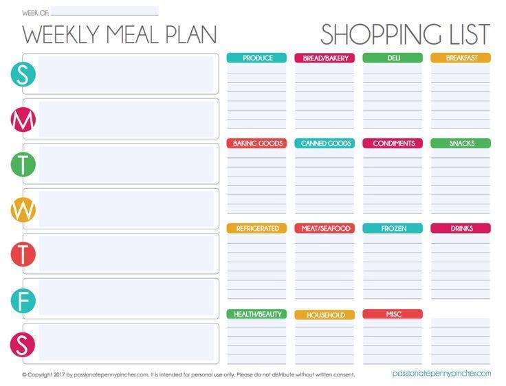 Editable Weekly Meal Planner Template Free Editable Menu Plan and Grocery List