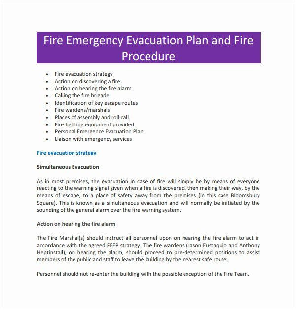 Emergency Evacuation Plan Template Free Sample Emergency Evacuation Plan Template Inspirational 10