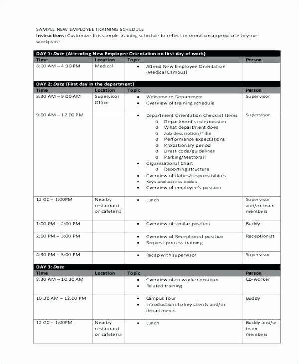 Employee Training Plan Template Employee Training Schedule Template Lovely New Employee