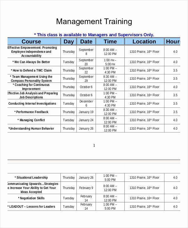 Employee Training Plan Template Excel Employee Training Schedule Template Excel Lovely Employee