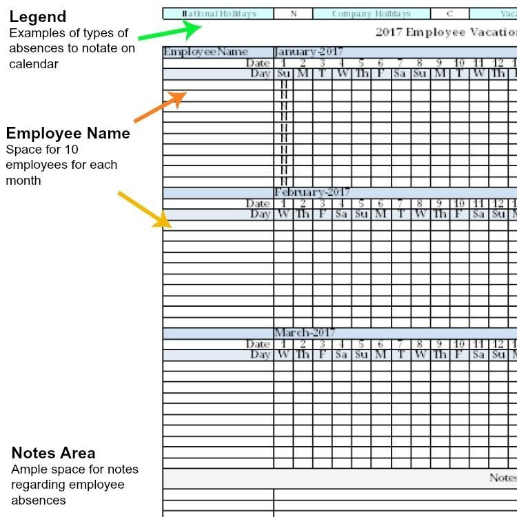 Employee Vacation Planner Template Excel 2017 Employee Vacation Absence Tracking Calendar Spreadsheet