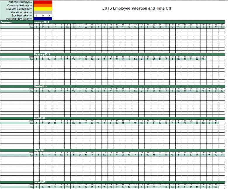 Employee Vacation Planner Template Excel Best S Pto Calendar Template In Excel Free Employee