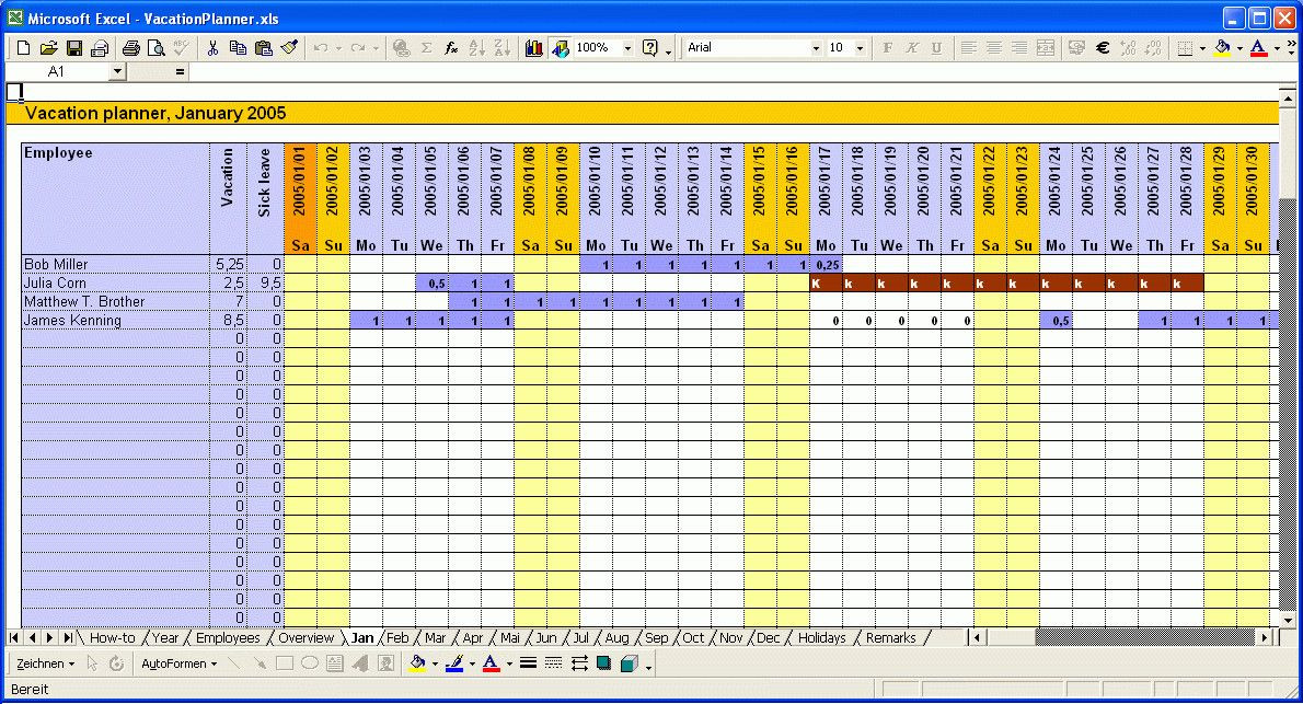 Employee Vacation Planner Template Excel Employee Vacation Planner Template Excel Best Calendar